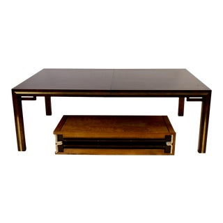 Bernhard Rohne for Mastercraft Amboyna Burl & Brass 10' Extension Dining Table For Sale