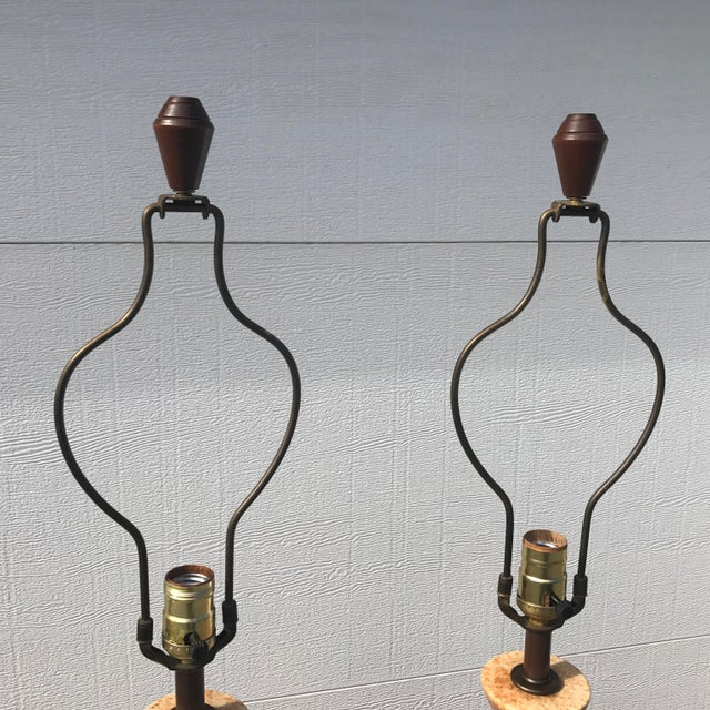 1960s Mid-Century Modern Tall Striped Pottery Table Lamps - a Pair For Sale - Image 9 of 12