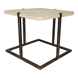 Concrete and Iron End or Coffee Table For Sale
