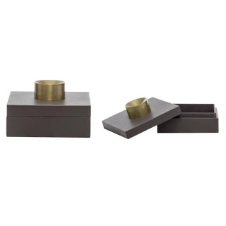 Contemporary Small Gray Leather Storage Boxes - Set of 2