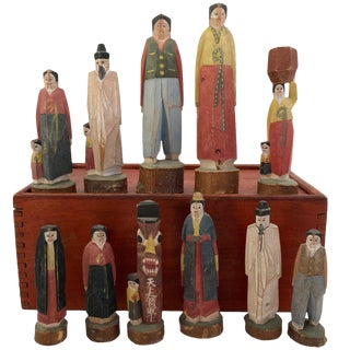 Korean Hand-Carved and Stained Figures With Slide Top Box - Set of 11 For Sale