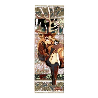 "Art Deco ""Winter Bull"" Elk Tile Wall Hanging For Sale"