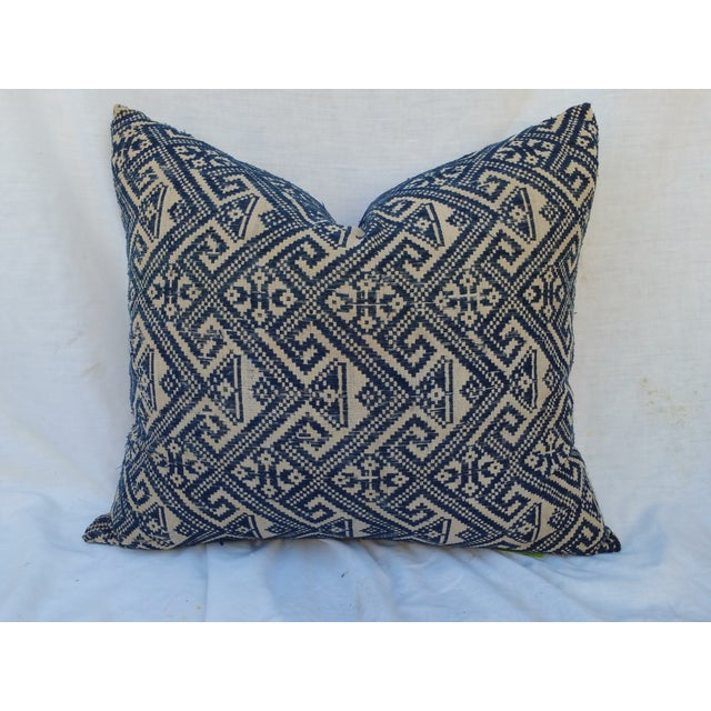 Hill Tribe Embroidered Indigo Silk Pillow - Image 2 of 5