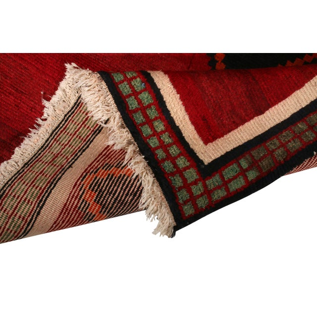 1910s Hand-Knotted Antique Gabbeh Rug Red Beige Green With Black Diamond Pattern For Sale - Image 5 of 6