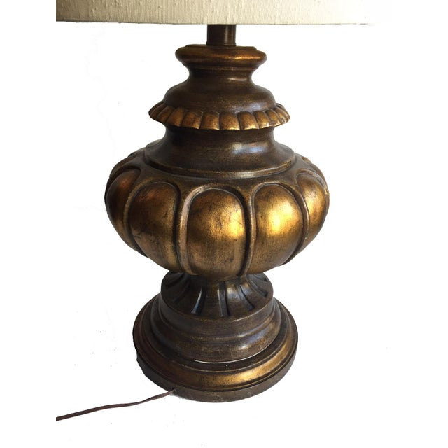 French Vintage Table Lamp with Original Shade For Sale - Image 3 of 6