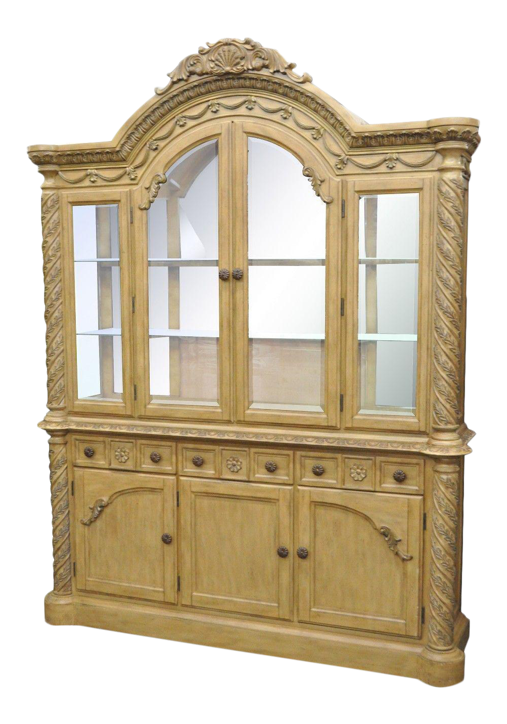 Ashley South Shore Coast Bisque China Cabinet Buffet Breakfront Cupboard  For Sale