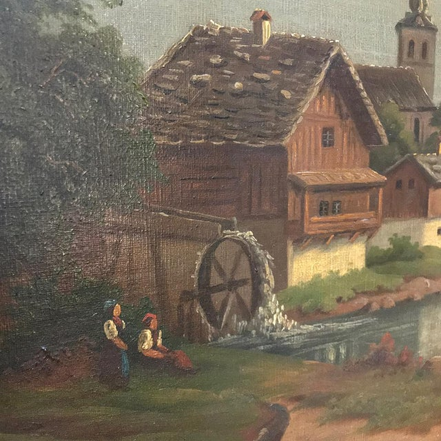 Canvas Pair 19th Century Framed Oil Paintings on Canvas For Sale - Image 7 of 13