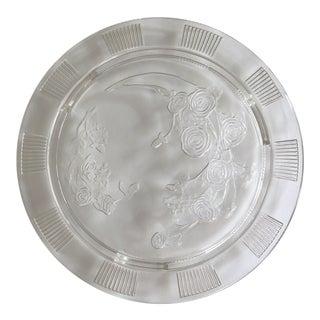 Vintage Federal Glass Footed Rose Cake Platter For Sale