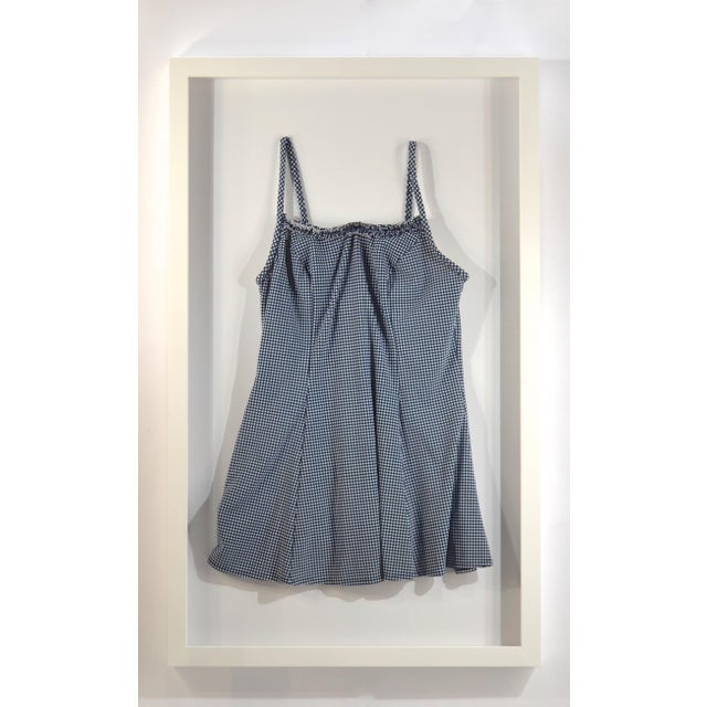 Contemporary Framed Blue & White Vintage Swim Suit For Sale - Image 3 of 5