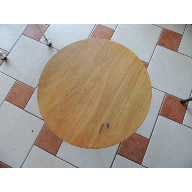 Early 21st Century Folding Round Side Table With Wood Top and Pencil Legs For Sale - Image 5 of 6