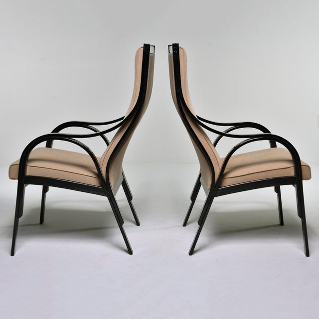 Pair Mid Century Ebonised High Back Italian Armchairs For Sale In Detroit - Image 6 of 10