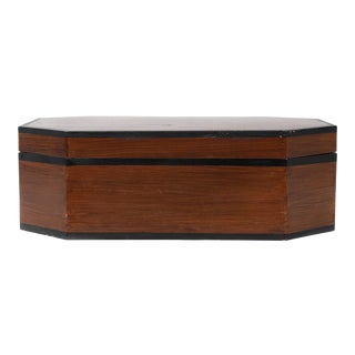 20th Century Traditional Oblong Octagonal Wooden Box With Lid For Sale