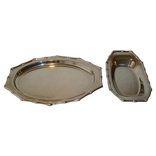 Chinoiserie Faux Bamboo Chrome Serving Trays - a Pair