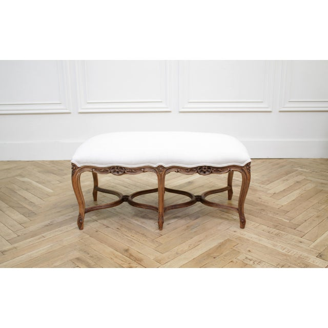 Mid 20th Century Antique French Louis XV Style Bench Upholstered in Irish Linen For Sale - Image 12 of 12