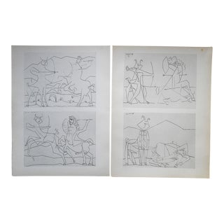 Vintage Mid 20th Century Modernist Ltd. Ed. Lithographs-Picasso-From Verve Art Journal-A Pair For Sale
