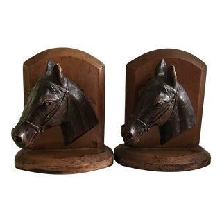 Mid-Century Wooden Horse Head Bookends - a Pair For Sale