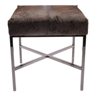 Black Chrome & Wildebeest Upholstered Bench
