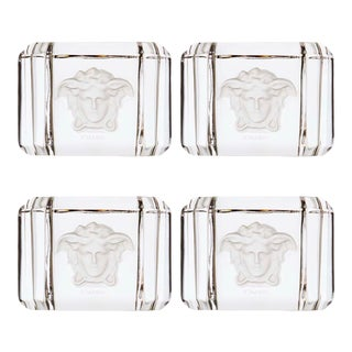 Rosenthal Versace Home Collection Crystal Treasury Napkin Rings – Set of 4 For Sale