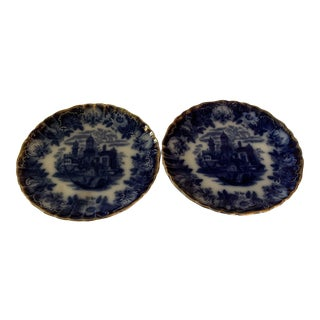 Rathbone Japan Patter Gold Rimmed Blue Plates - a Pair For Sale