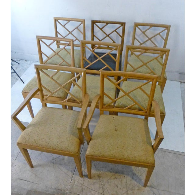 This is a wonderful set of eight (8) dining chairs perfect for dining room. The set consists of six side chairs and two...