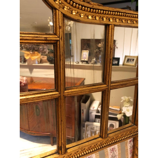 French Neoclassical Revival Giltwood Mirror and Upholstered 3-Panel Screen For Sale - Image 11 of 13