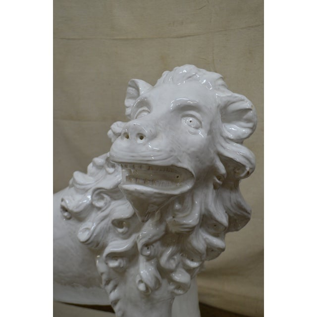 White French Faience Pottery Tuilerie Normande Vintage Large White Seated Lion Statue For Sale - Image 8 of 13