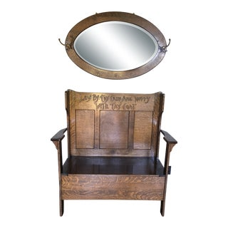 Arts & Crafts Hall Bench With Mirror For Sale