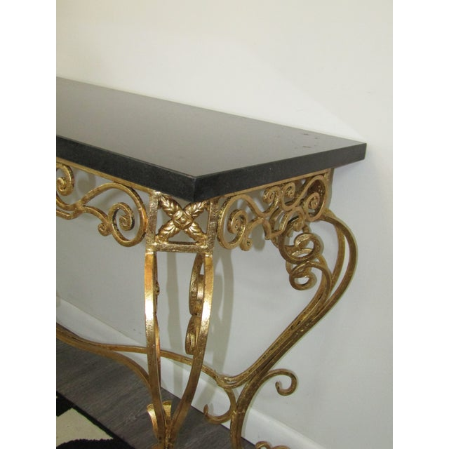 1950s 1950s Vintage Gold Leaf Wrought Iron Console Table For Sale - Image 5 of 7