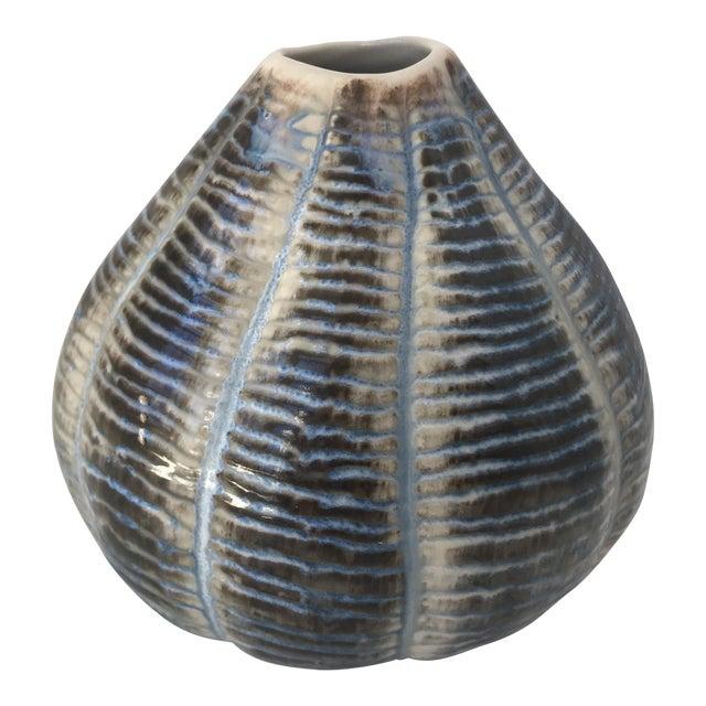Unique Blue and Brown Ceramic Vase - Image 1 of 5
