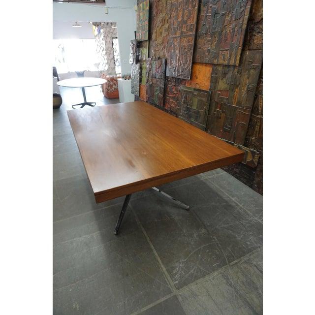 Knoll Florence Knoll Walnut on Chrome Base Partner Desk For Sale - Image 4 of 7
