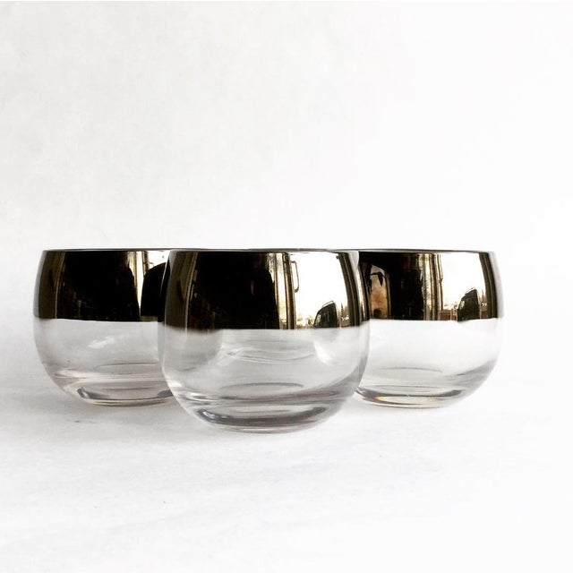 Mid-Century Modern Vintage Dorothy Thorpe Silver Band Roly Poly Glass - Set of 4 For Sale - Image 3 of 4