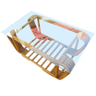 Restored Five Strand Rattan Coffee Table with Floating Glass Top For Sale