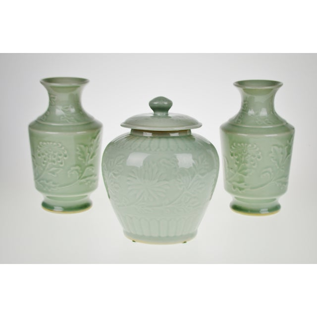 Chinese Ceramic Celadon Ginger Jar Vases Set Of 3 Chairish