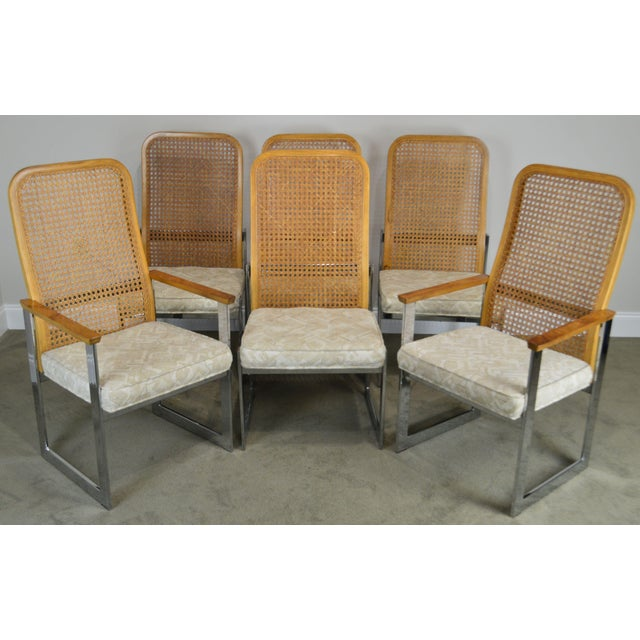 High Quality American Made Set of 6 Chrome Base Cane Back Arm Chairs with Upholstered Seats Burl Wood Armrests