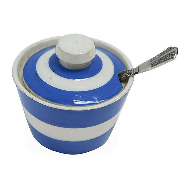 Vintage English Cornishware Mustard Pot with Spoon - Image 2 of 3