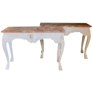 Pair of George III Style Marble-Top Console Tables For Sale