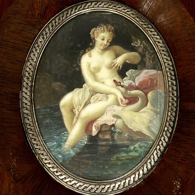 """19th Century """"Lida and the Swan"""" Miniature Painting, Framed For Sale - Image 4 of 5"""