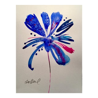 """Botanical Blue 3"" Original Watercolor For Sale"