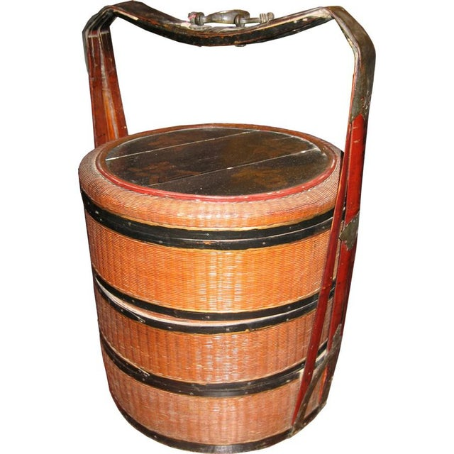Antique Rattan Picnic Box For Sale - Image 4 of 5