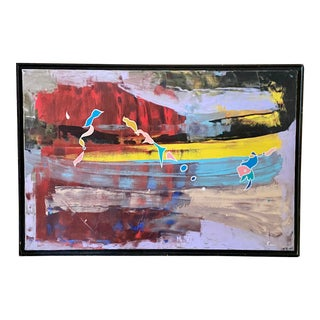 """1980s """"Your Memories"""" Abstract Mixed-Media Painting, Framed For Sale"""