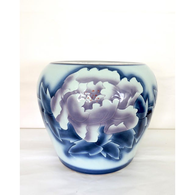 Asian Contemporary 'Asian Peony' Ceramic Drum Seat or Garden Stool For Sale - Image 3 of 7