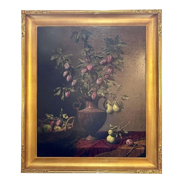 """Frank Arcuri, Still Life Oil on Canvas. Framed. """"Small Feast With Figs"""" 1999 For Sale"""