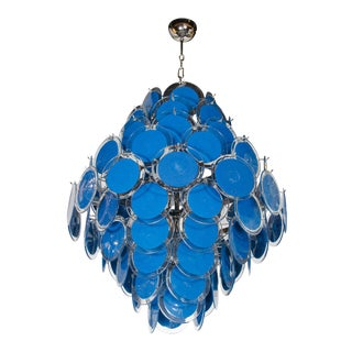Large 84 Murano Sapphire and Clear Glass Disc Chandelier, Manner of Vistosi