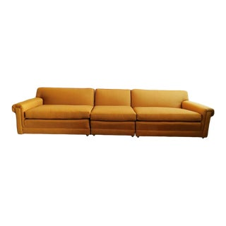 Brass Tweed Mid-Century Modern Sofa