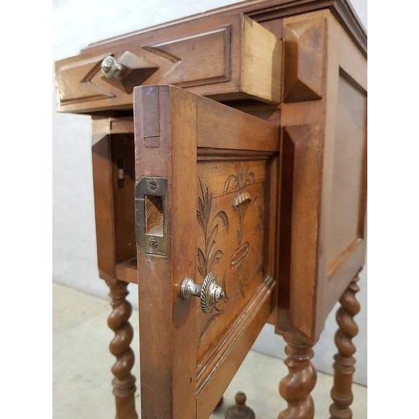Antique French Vanity Armoire Barley Twist Stand Desk With Marble Top For Sale - Image 9 of 13