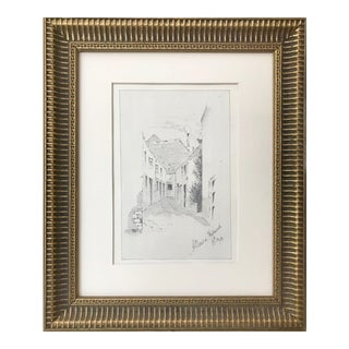 "Antique English Graphite Landscape Drawing ""A Street in Falmouth"" 1908 For Sale"