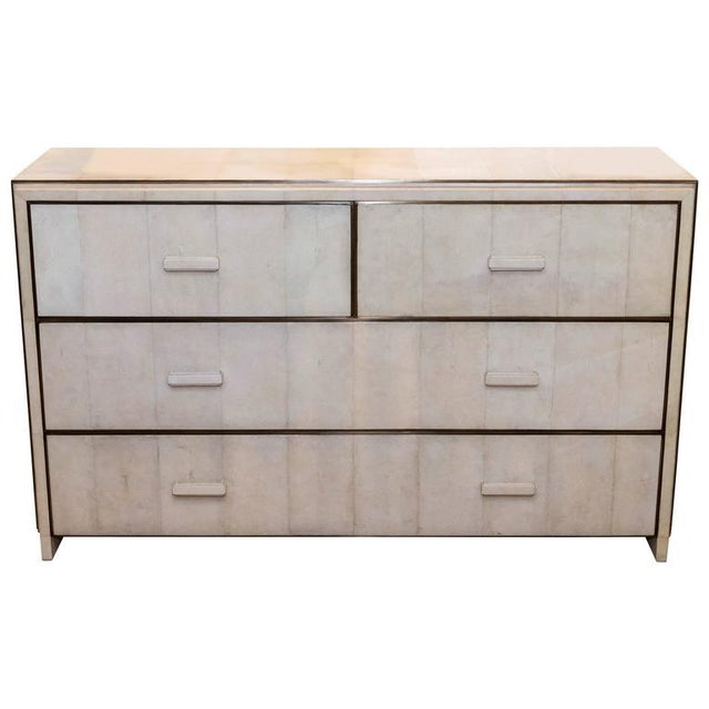 White Shagreen Four-Drawer Commode with Bronze Trim For Sale In New York - Image 6 of 6