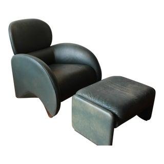 1970's Vintage Mod Chair & Ottoman For Sale