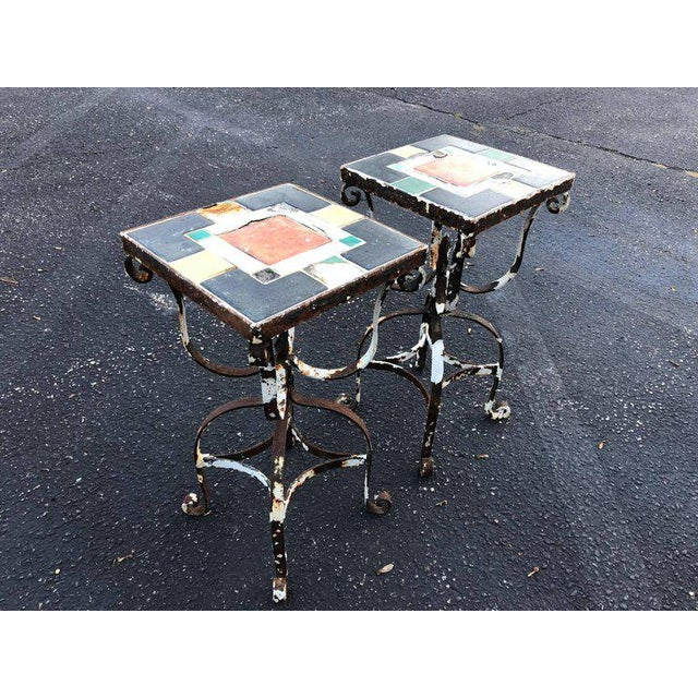 1960s Vintage Iron Tile Top Tables - a Pair For Sale - Image 5 of 10