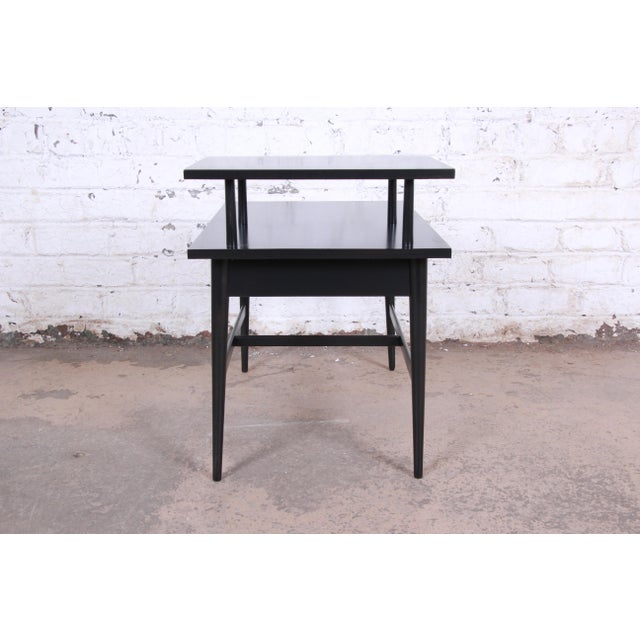 Paul McCobb Planner Group Two-Tier Ebonized End Table or Nightstand, 1950s For Sale - Image 9 of 10